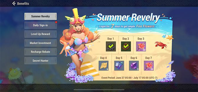 Dawn of Isles Game Review Daily Benefits Screen