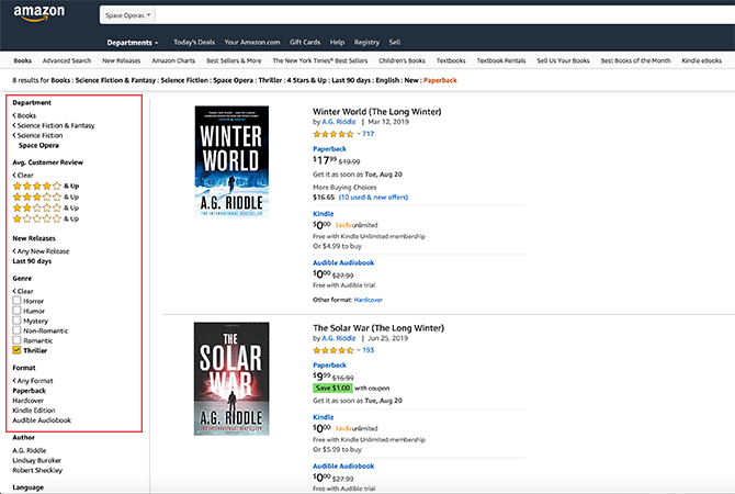 How to Search Amazon for Books on the Web Narrow Categories