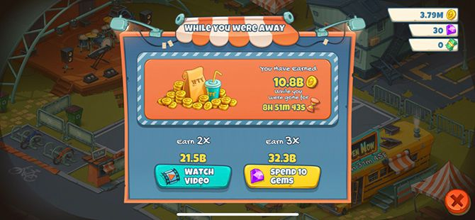 Idle Food Truck Tycoon Review Mobile Game Ad Screen